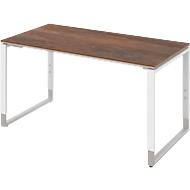 Schreibtisch TEQSTYLE, Kufengestell, Rechteck, B 1600 x T 800 x H 680 - 820 mm, Oxido/weiß