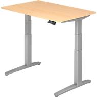 Schreibtisch TOPAS LINE, 2-stufig elektr. höhenverstellbar, B 1200, Ahorn/silber/silber