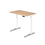 Schreibtisch TOPAS LINE, 2-stufig elektr. höhenverstellbar, B 1200, Eiche/weiß/alu poliert