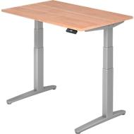 Schreibtisch TOPAS LINE, 2-stufig elektr. höhenverstellbar, B 1200, Nussbaum/silber/silber