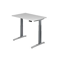 Schreibtisch TOPAS LINE, 2-stufig elektr. höhenverstellbar, B 1200, weiß/graphit/alu poliert