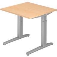 Schreibtisch TOPAS LINE, manuell höheneinstellbar, B 800 mm, Ahorn/silber/silber