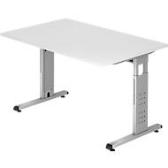 Schreibtisch ULM, C-Fuß, Rechteck,  B 1200 x T 800 x H 650-850 mm, lichtgrau