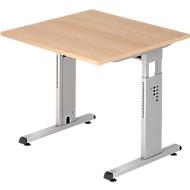 Schreibtisch ULM, C-Fuß, Rechteck, B 800 x T 800 x H 650-850 mm, Eiche-Dekor