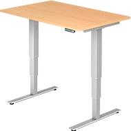 Schreibtisch ULM, elektrisch, höhenverstellbar, B 1200 mm, Buche-Dekor