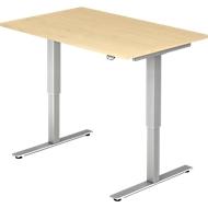 Schreibtisch Ulm, elektrisch höhenverstellbar, T-Fuß, B 1200 mm, Ahorn-Dekor