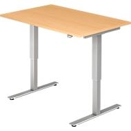 Schreibtisch Ulm, elektrisch höhenverstellbar, T-Fuß, B 1200 mm, Buche-Dekor
