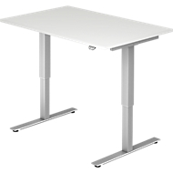 Schreibtisch Ulm, elektrisch höhenverstellbar, T-Fuß, B 1200 mm, lichtgrau