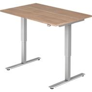 Schreibtisch Ulm, elektrisch höhenverstellbar, T-Fuß, B 1200, Nußbaum-Dekor