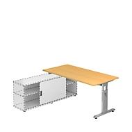 Schreibtisch ULM mit Sideboard, manuell höhenverstellbar, Rechteck, T-Fuß, B 1600 mm, Buche-Dekor