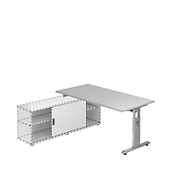 Schreibtisch ULM mit Sideboard, manuell höhenverstellbar, Rechteck, T-Fuß, B 1600 mm, lichtgrau