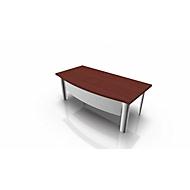 Schreibtisch X-TIME-WORK, 4-Fuß, Bogen, B 2000 x T 900 x H 740 mm, Wenge-Dekor/Weiß