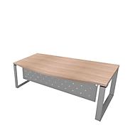 Schreibtisch X-TIME-WORK, Kufengestell, Rundbogen, B 2000 x T 900 x H 740 mm, Ulme/Alu