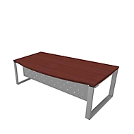 Schreibtisch X-TIME-WORK, Kufengestell, Rundbogen, B 2000 x T 900 x H 740 mm, Wenge-Dekor/Alu