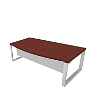 Schreibtisch X-TIME-WORK, Kufengestell, Rundbogen, B 2000 x T 900 x H 740 mm, Wenge-Dekor/Weiß