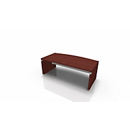 Schreibtisch X-TIME-WORK, Wange, Rundbogen, B 2000 x T 1000 x H 740 mm, Wenge-Dekor/alu