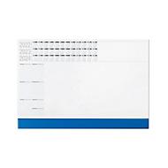Schreibtischunterlage, mit Kunststoffleiste, 50 Blatt, B 600 x H 400 mm, Werbedruck 585 x 30 mm, blau