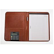 Schrijfmap Manarola A4, bruin, hoogwaardig imitatieleer met transparant vak
