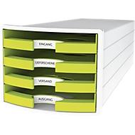 Schubladenbox HAN Impuls 2.0, 4 Schubladen, Format A4, stapelbar, offen, weiß/lemon
