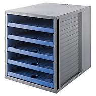 Schubladenbox SCHRANK-SET KARMA, 5 offene Schubladen, DIN A4, leichtlaufend, B 275 x T 330 x H 320 mm, blau