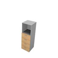 Schubladenelement PHENOR, 3 OH, 4 Schübe, 1 Regalfach, B 430 x T 430 x H 1310 mm, Buche-Dekor