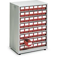 Schubladenregal, mit 48 Schubladen, rot