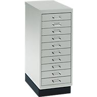 Schubladenschrank DIN A4, mit 10 Schubladen, 675 mm hoch, lichtgrau