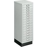 Schubladenschrank DIN A4, mit 15 Schubladen, 940 mm hoch, lichtgrau
