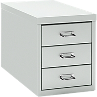 Schubladenschrank DIN A4, mit 3 Schubladen, 330 mm hoch, lichtgrau
