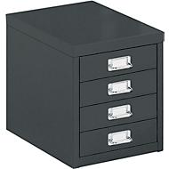 Schubladenschrank DIN A4, mit 4 Schubladen, 330 mm hoch, schwarz