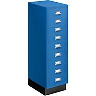 Schubladenschrank DIN A4, mit 9 Schubladen, 940 mm hoch, enzianblau