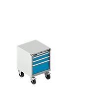Schubladenschrank mit Rollen WSK 18-27, 4 Schübe, bis 75 kg, B 411 x T 572 x H 770 mm, lichtblau/lichtgrau