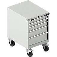 Schubladenschrank mit Rollen WSK 27-36, 5 Schübe, bis 75 kg, B 564 x T 725 x H 920 mm, lichtgrau/lichtgrau