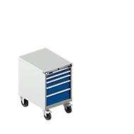 Schubladenschrank mit Rollen WSK 36-27, 5 Schübe, bis 75 kg, B 717 x T 572 x H 920 mm, lichtgrau/lichtblau