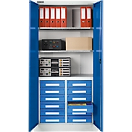 Schubladenschrank MSI 2509/26, B 950 x T 500 x H 1935 mm, alusilber/enzianblau