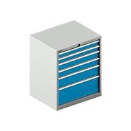 Schubladenschrank SCHÄFER 36-27, 6 Schübe, bis 75 kg, B 717 x T 572  x H 850 mm, lichtgrau/lichtblau