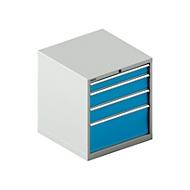 Schubladenschrank SCHÄFER 36-36, 4 Schübe, bis 75 kg, B 717 x T 725 x H 800 mm, lichtgrau/lichtblau