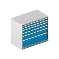 Schubladenschrank SCHÄFER 54-27, 6 Schübe, bis 75 kg, B 1023 x T 572 x H 850 mm, lichtgrau/lichtblau