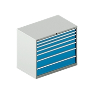 Schubladenschrank SCHÄFER 64-36, 7 Schübe, bis 75 kg, B 1193 x T 725 x H 1000 mm, lichtgrau/lichtblau