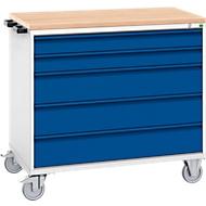 Schubladenschrank Serie Verso, fahrbar, 5 Schubladen, H 980 x B 1050 mm, mit Holzauflage