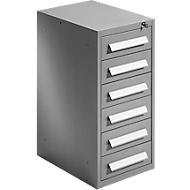Schubladenschrank SF 60, 6 Schübe, weißaluminium RAL 9006