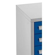 Schubladenschrank SF 70, 7 Schübe, weißaluminium RAL 9006/enzianblau