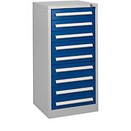 Schubladenschrank SF 90, 9 Schübe, weißaluminium RAL 9006/enzianblau