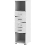 Schubladenschrank TEQSTYLE, 4 Auszüge, B 400 x T 419 x H 1465 mm, weiß/weiß