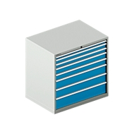 Schubladenschrank WSK 54-36, Stahl, 8 Schübe, bis 75 kg, B 1023 x T 725 x H 1000 mm, lichtgrau/lichtblau