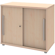 Schuifdeurkast BARI, 1 legbord, slot, B 800 x D 430 x H 720 mm, esdoornpatroon