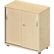 Schuifdeurkast LOGIN, 2 ordnerhoogten, B 800 x D 420 x H 744 mm, esdoornpatroon/esdoornpatroon