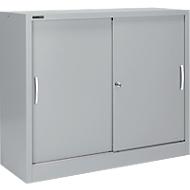 Schuifdeurkast MS iCONOMY, staal, 3 ordnerhoogten, B 1200 x D 400 x H 1215 mm, wit aluminium RAL 9006