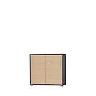 Schuifdeurkast Start Up, 2 ordnerhoogten, afsluitbaar, B 800 x D 420 x H 744 mm, hout, grafiet/esdoorn