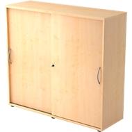 Schuifdeurkast TARA, 3 ordnerhoogten, B 1200 x D 400 x H 1180 mm, afsluitbaar & stapelbaar, esdoornpatroon
